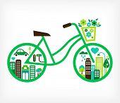 bicicleta com cidade verde - vector