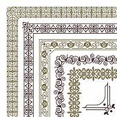 Seamless Corners. Filigree Flourish Ornament Borders For Wedding Card Vintage Tile Frame Vector Patt poster