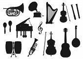 Musical Instrument Isolated Monochrome Icons. Vector Classic, Jazz And Folk Music Tools. Retro Drum  poster