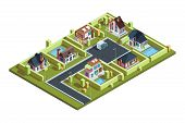 Cottage Village Isometric. Suburban Modern Residential Houses Townhouses In Small Town With Infrastr poster