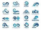 Wave Logo. Graphic Symbols Of Ocean Or Flowing Sea Water Stylized For Business Identity Vector. Illu poster