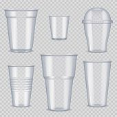 Plastic Cups. Transparent Empty Vessel For Beverage Food And Drinks Template Of Plastic Cups Vector  poster