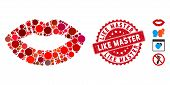 Mosaic Kiss Print Icon And Grunge Stamp Watermark With Like Master Phrase. Mosaic Vector Is Formed W poster