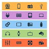 Gadget Icons Set With Setting, Fan, Flash Drive And Other Fm Elements. Isolated Illustration Gadget  poster