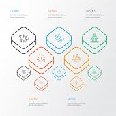 Environment Icons Line Style Set With Solar Power, Eco Farming, Factory And Other Ecology Problem El poster