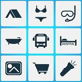 Tourism Icons Set With Cart, Flashlight, Bus And Other Clinic Elements. Isolated Illustration Touris poster