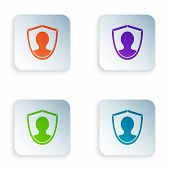 Color User Protection Icon Isolated On White Background. Secure User Login, Password Protected, Pers poster