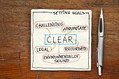 CLEAR ( challenging, legal, environmentally sound,appropriate, recorded) goal setting concept - a na
