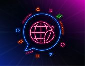 Globe With Leaf Line Icon. Neon Laser Lights. World Sign. Environment Day Symbol. Glow Laser Speech  poster