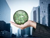 Ecology concept: Hand holding a globe with nature leaves on business buildings background