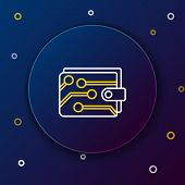 White And Yellow Line Cryptocurrency Wallet Icon On Dark Blue Background. Wallet And Bitcoin Sign. M poster
