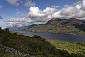 Loch Maree And Slioch (981m Left), Highland, Scotland  Viewed From Mountain Trail Across Loch Maree poster