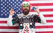 Spread Joy. Bearded American Man. Celebrate Christmas And New Year American Way. Winter Greetings. H poster