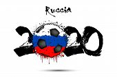 Abstract Numbers 2020 And Soccer Ball Painted In The Colors Of The Russia Flag In Grunge Style. Figu poster