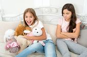 All Toys Are Mine. Little Girl Grab Soft Toys. Small Children Quarrel Over Toys. Kids Sharing. Chidr poster