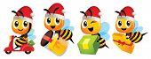 Merry Christmas! Cartoon Cute Bee Mascot Wearing Christmas Hat. Cartoon Cute Bee Deliver Product Set poster