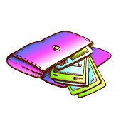 Wallet With Money Banknotes Monochrome Vector. Opened Personal Woman Wallet With Cash. Purse For Pay poster