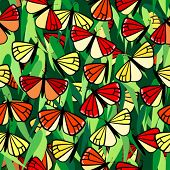 monarch butterfly seamless pattern with leaves