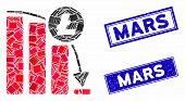 Mosaic Litecoin Epic Fail Graph Icon And Rectangular Mars Seals. Flat Vector Litecoin Epic Fail Grap poster
