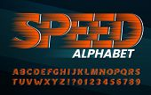 Speed Alphabet Font. High Speed Effect Letters And Numbers. Stock Vector Typescript For Your Typogra poster