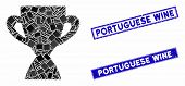 Mosaic Prize Cup Pictogram And Rectangle Portuguese Wine Stamps. Flat Vector Prize Cup Mosaic Pictog poster