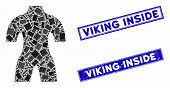 Mosaic Body Pictogram And Rectangle Viking Inside Seal Stamps. Flat Vector Body Mosaic Pictogram Of  poster