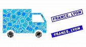 Mosaic Cargo Van Pictogram And Rectangular France, Lyon Seal Stamps. Flat Vector Cargo Van Mosaic Pi poster