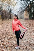 Young Woman Stretching And Warming Up . Attractive Girl Stretching Before Fitness In The Autumn Park poster