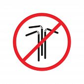 Say No To Plastic Straw Red Prohibition Sign. Say No To Plastic Pollution. Save Environment And Ecol poster