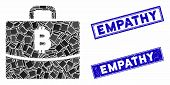 Mosaic Bitcoin Accounting Case Pictogram And Rectangle Empathy Rubber Prints. Flat Vector Bitcoin Ac poster