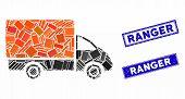 Mosaic Shipment Car Pictogram And Rectangular Ranger Seal Stamps. Flat Vector Shipment Car Mosaic Pi poster