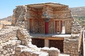 The partial reconstruction of part of the Minoan era palace of Knossos near Heraklion in Crete, Greece