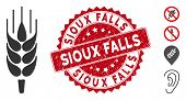 Vector Barley Ear Icon And Grunge Round Stamp Seal With Sioux Falls Phrase. Flat Barley Ear Icon Is  poster