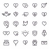 Heart Line Icons. Styling Heart Decoration Elements, Love And Friendship Symbols And Outline Lovely  poster