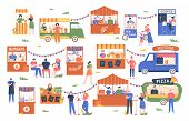 Street Food Marketplace. Outdoor Farmers Market, Characters Buy And Sell Vegetables, Bread, Flowers  poster