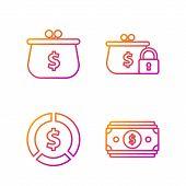 Set Line Stacks Paper Money Cash, Coin Money With Dollar Symbol, Wallet With With Dollar Symbol And  poster