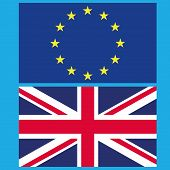Flag Of The European Union And Great Britain. Vector Illustration Of The Split Of The European Union poster