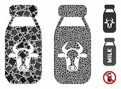 Cow Milk Icon Composition Of Joggly Parts In Different Sizes And Color Hues, Based On Cow Milk Icon. poster