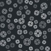 Grey Target Sport For Shooting Competition Icon Isolated Seamless Pattern On Black Background. Clean poster