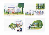 Set Of Summer Activities Illustrations. Flat Vector Illustrations Of Girls And Women Roller Skating  poster