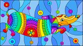 Illustration In Stained Glass Style With Abstract Rainbow Dachshund Dog On Blue Background poster