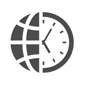 World Time Clock Vector Icon Isolated On White Background. World Time Clock With Half Globe Planet F poster