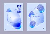 Blue Hipster Memphis Gradient. Summer Fluid Shape. Liquid Banner. Trendy Business Magazine. Abstract poster