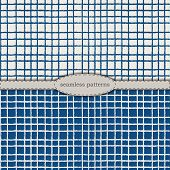 Hand-drawn Seamless Patterns In Simplified Scandinavian Minimalism Style. Classic Blue Pantone 2020  poster