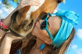 picture of redneck  - Beautiful young woman wearing blue dress with a horse outdoor - JPG