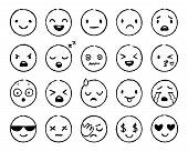 Hand Drawn Emoji. Doodle Emoticons, Smile Face Sketch And Grunge Ink Brush Emojis Doodles. Emotion M poster