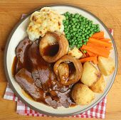 Traditional British Sunday roast beef dinner
