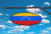 Venezuela Flag On A Signboard. Oval Signboard Colors Flag Venezuela Hangs On A Metal Forged Structur poster