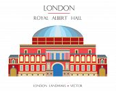 Colorful Vector Royal Albert Hall, Famous Landmark Of London, England. Vector Flat Illustration Isol poster