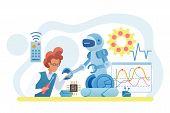 Scientist Creating Robot Flat Vector Illustration. Engineer Working On Robotic Technology. Man Build poster